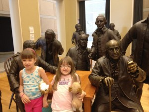 The older two with some founding fathers in Philadelphia, Sept 2012
